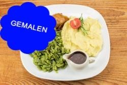 Slavink, snijbonen en aardappelpuree
