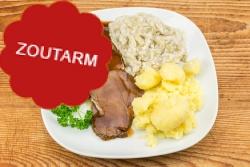 Natriumarme runderrollade, witlof naturel, aardappelen