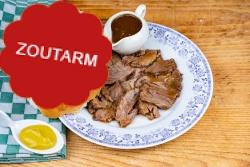Zoutarme runderrollade met jus voor een 'broodje warm vlees'
