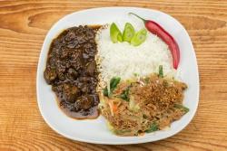 Babi ketjap met gado gado en witte rijst